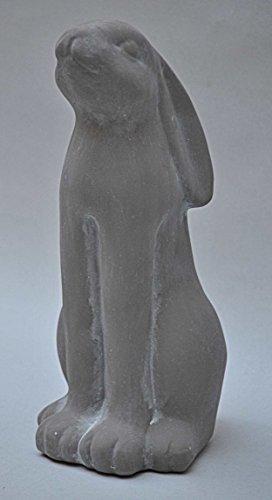 Hase, Osterhase sitzend, Keramik grau, Gartenfigur, Höhe 28 cm