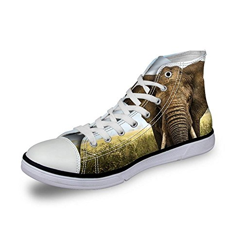 NSX Punta rotonda delle donne High Top Lace-Up 3D Printing Canvas Casual Athletic Skate Scarpe Flats , 38 , 008 008-39