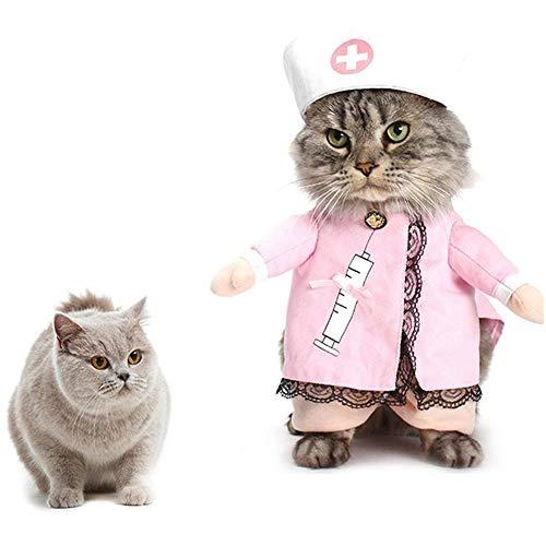 Hunde Kostüm Krankenschwester - ZZQ Krankenschwester Hund Kleidung Für Kleine Hunde Mantel Lustige Haustier Halloween Kostüm Anzug Puppy Dress Up Cosplay Kleidung Outfit Katzen Liefert,XL