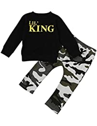 Koly El niño pequeño embroma la letra del bebé Algodón O-cuello de manga larga Camiseta camisa bebe Tops+Pantalones de Camuflaje Ropa de los trajes conjuntos de bebe casual