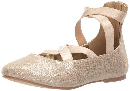 Nine West Girls' Feliciah Ballet Flat, Light Gold Scratched Metallic, 4.5 Medium US Big Kid - Gold Ballet Flat