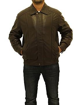 Hombres de color marr—n oscuro real cuero cl‡sico collar de cremallera chaqueta Blouson chaqueta