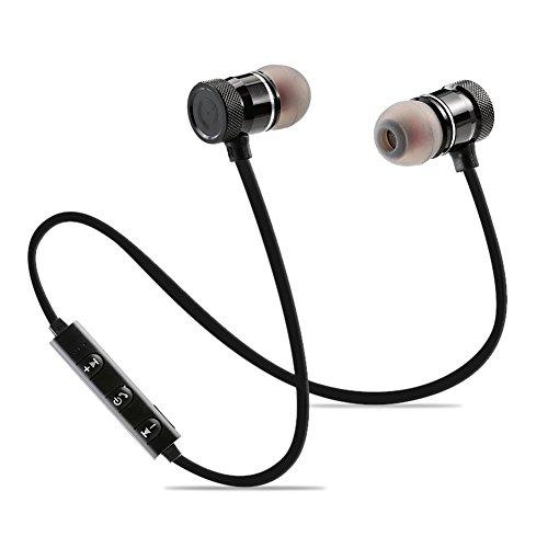 Bluetooth in-Ear Sport Kopfhörer V4.1 IPX5 Schweißresistent Stereo magnetischer Sport Ohrhörer mit 10 Stunden Spielzeit & 10 Meter Reichweite, eingebautes Mikrofon für iPhone, Huawei und Samsung