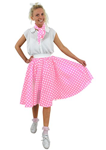 ILOVEFANCYDRESS Polka DOT Rock n ROLL Punkte Rock=ERHALTBAR IN 10 Farben+2 GRÖßEN= LÄNGE VON UNGEFÄHR 66cm=HÜFTUMFANG BIS ZU -72cm(OS)+BIS ZU 94cm (PS)=Baby ROSA/OS MIT WEIßEN Punkten (Western Und Country Fancy Dress Kostüm)