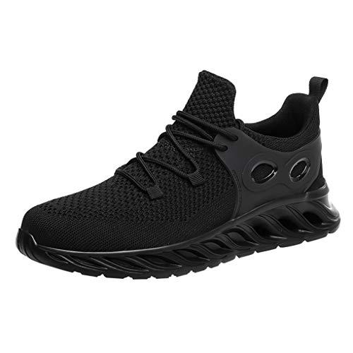 Skxinn Sportschuhe, Herren Casual Laufschuhe Lightweight Gym Sneakers Fitness Turnschuhe männer Mesh Breathable Sport Schuhe,Comfortable Soft Bottom Running Shoes Größe 39-46(Schwarz,39 EU) -