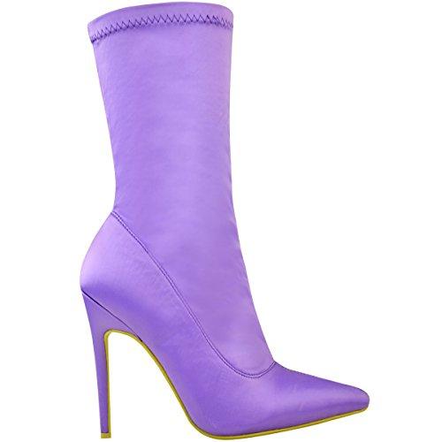 donna stivali caviglia donna stretch lycra stiletto tacchi alti a Punta SCARPE Lilla RASO