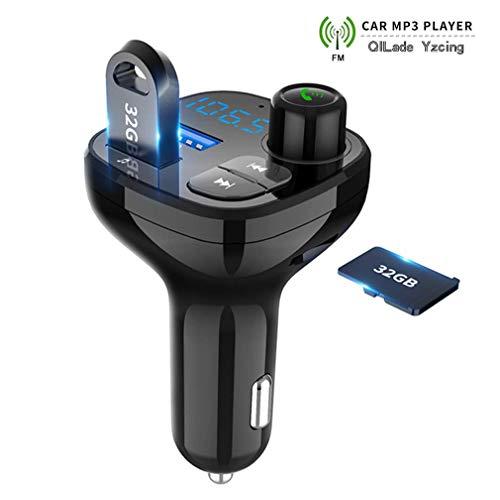 QILade Yzcing Bluetooth FM-Transmitter für Auto, Wireless in-Car-Radio-Sender-Adapter Car Kit, Auto MP3-Musik-Player-Unterstützungs-TF-Karte und USB-Flash-Laufwerk/USB Car Charger Blackberry Converter