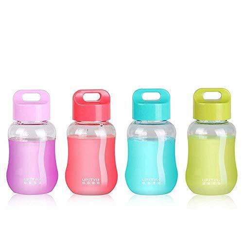 Juliguala Upstyle Mini-Flaschen, aus Kunststoff, zum Reisen, für Wasser, Sport, Milch, Kaffee, Tee, Saft, 180 ml Transparent Pack of 4