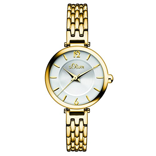 s.Oliver Damen-Armbanduhr Analog Quarz IP Gold SO-15099-MQR