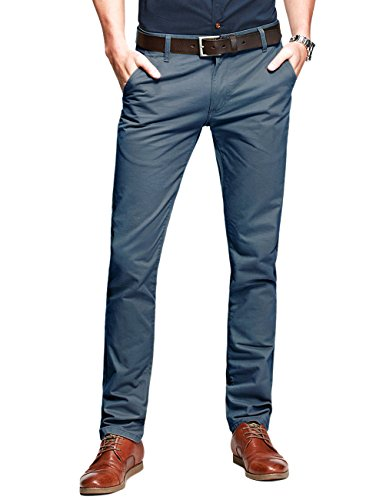 Match Men's Slim Tapered Casual Trousers#8025(Indigo blue,34W x Regular)