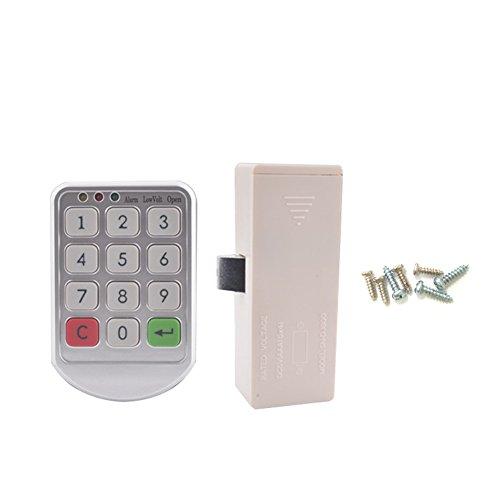ROKOO Keyless-Elektronische Code Digital Passwort Keypad Sicherheit Schrank Smart Schloss, silbergrau, 206 Plastic Panel + Steel Cabinet Screws (Elektronisches Kombinationsschloss)