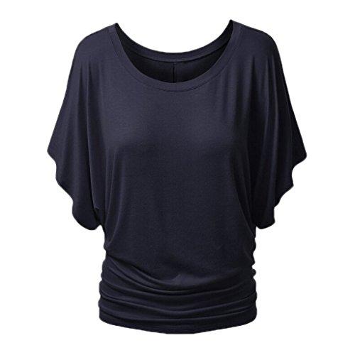 Minetom Donna Sexy Girocollo T-shirts Manica Corta Camicetta Maglia Batwing Dolman Casual Tops Blusa Marina IT 46