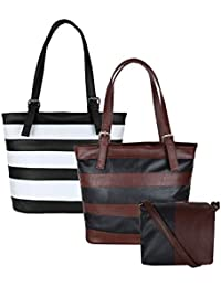 Don Cavalli Women's PU Leather Handbag Combo (Pack Of 2, Black & Brown)