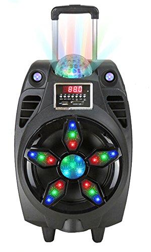 ALTAVOZ PORTÁTIL TROLLEY 80W CON luces de discoteca LED y MICROFONO INCLUIDO BLUETOOTH SE-152