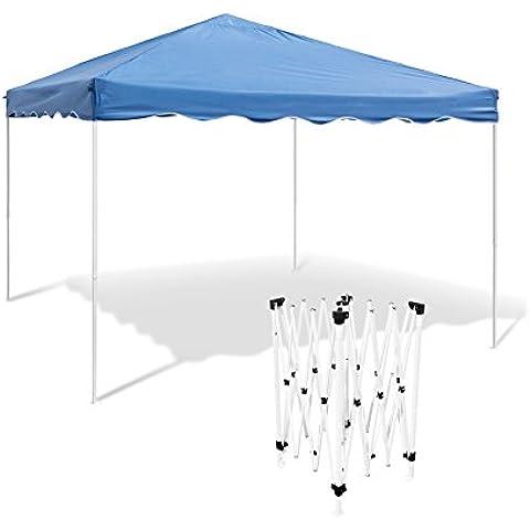 Relaxdays - Pabellón plegable, Acero y 100 % PE, 2.45 x 3 x 3 m, Pabellón para el jardín, acampar y festivales, Resistente al agua, Techo PE, Protección contra lluvia y sol, Azul