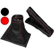 Aerzetix - Set di cuffia per leva cambio e freni a mano di 100% vera pelle nera con cuciture rosso .