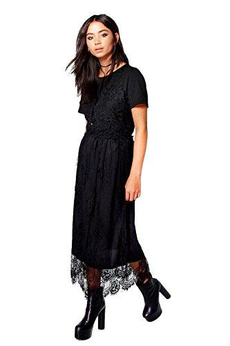 Schwarz Damen Anabella 2 in 1 Lace Slip Dress Schwarz