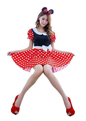 thematys Maus Mouse Kleid mit weißen Punkten und Haarreifen - Kostüm-Set für Damen - perfekt für Fasching, Karneval & Cosplay (Medium) 155cm bis - Minnie Maus Kostüm Männer