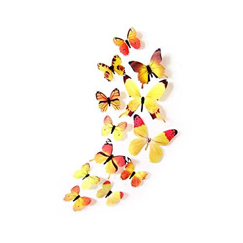 Oblique Unique® Deko Schmetterlinge 12er Set - wunderschöne farbenfrohe Dekoration - Wandtattoo (Gelb)