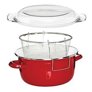 Premier Houseware 5 L Deep Fryer with Pyrex Lid - 16 x 33 x 27 cm, Red