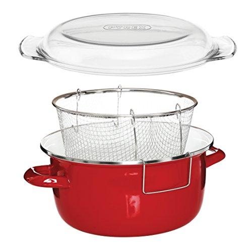 Premier Housewares - Freidora con cesta y tapa pyrex (16 x 33 x 27 cm) de cinco litros color rojo