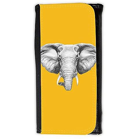 le portefeuille de grands luxe femmes avec beaucoup de compartiments // Q05130602 Dessin éléphant ambre // Large Size Wallet