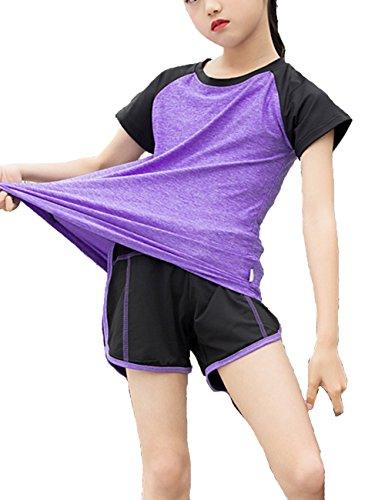 Echinodon Mädchen Sport Set Shirt + Shorts Schnelltrockend Anzug für Yoga Jogging Training Violett - Mädchen Tennis Shirt