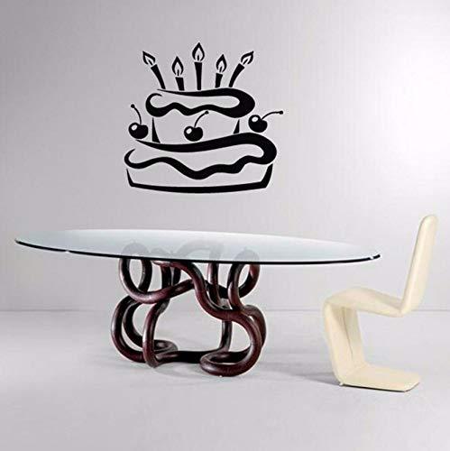 Dalxsh Wandtattoos Kirschkuchen Kuchen Mit Kerzen Küche Cafe Interior Design Home Vinyl Aufkleber AufkleberKunstwandbild59X59Cm
