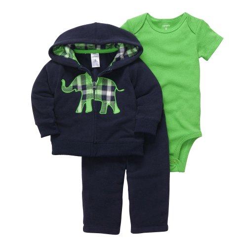 CARTER'S 3 teilig Jacke Body Hose Baby Junge Outfit Kleidung Kapuze boy 3 Teile Kombination Fleece (62/68, grau/rot) Carters Fleece-outfit