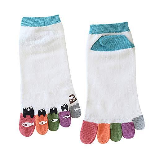 Fenverk Zehe Socken Baumwolle Tief Geschnitten Frau MäDchen Pilates FüNf Finger Reich Liner KnöChel Socke Bunt Lustig(A-Blau,Einheitsgröße)