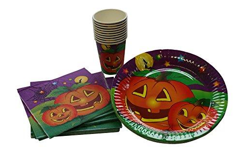 Kostüm Ideen Beängstigend Halloween Günstige (Tischset Halloween, Kürbis-Motiv, Mottoparty, Einweggeschirr, Partydeko,)