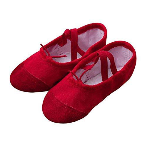 FNKDOR Ballerinas Schuhe, Mädchen 22-35 Segeltuch Ballett Pointe Tanzschuhe Fitness Gymnastik Hausschuhe (30, Rot)