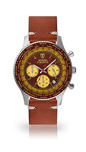 DETOMASO Firenze Herren-Armbanduhr Chronograph Analog Quarz silbernes Edelstahlgehäuse rot-Gelbes Zifferblatt - Jetzt mit 5 Jahre Herstellergarantie (Leder - Braun (Vintage Style))