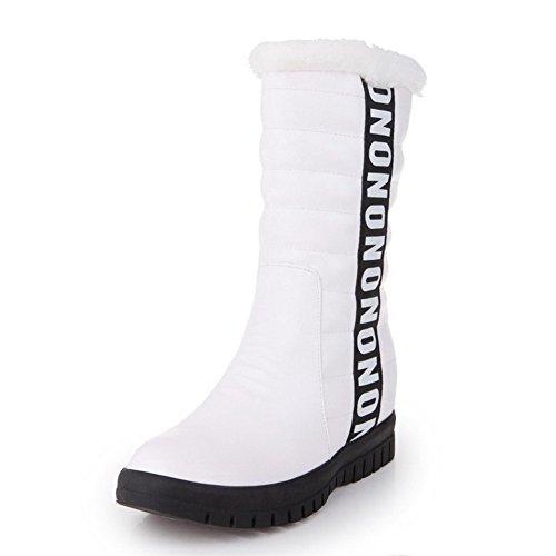 AllhqFashion Damen Rund Zehe Mittler Absatz Lackleder Mitte-Spitze Gemischte Farbe Stiefel Weiß