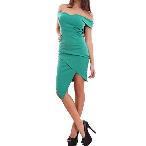 Toocool - Vestito donna miniabito abito tubino asimmetrico carmen coppe nuovo CJ-2204 Verde