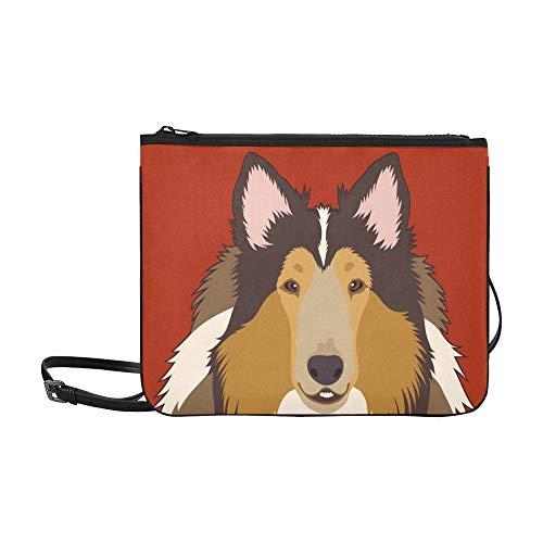 WYYWCY Rough Collie Buddy Dog Benutzerdefinierte hochwertige Nylon Slim Clutch Crossbody Bag Umhängetasche -