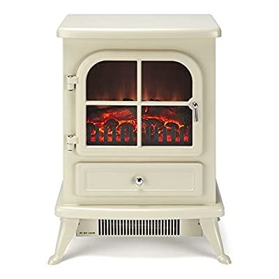 """Galleon Fires Original """"Sirius"""" Electric Stove, Freestanding Heater, Electric Fire Place / Fireplace - Chrome Handle - Realistic Log Flame Effect"""