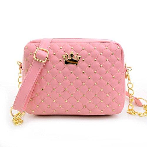 Il Pacchetto Di Rivettatura Di Cuoio Delle Nuove Borse Diagonali,Black Pink