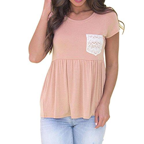 MRULIC Womens Casual Tops Sommer T-Shirt Blumendruck mit V-Ausschnitt T-Shirt Tops Bluse(Grau,EU-38/CN-S)