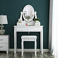 Songmics white Dressing Table Set 137 x 80 x 40 cm with adjustable mirror and stool RDT002