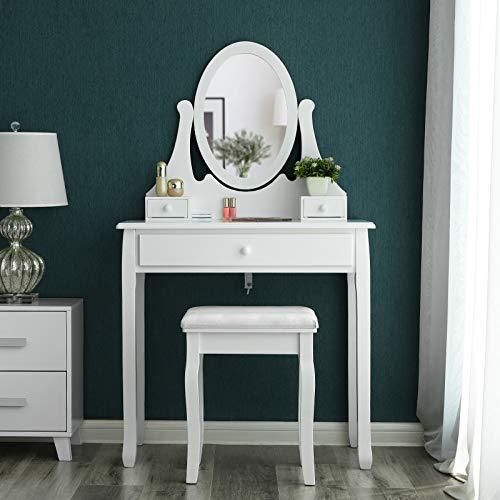 SONGMICS Coiffeuse-Table de Maquillage avec Miroir et Tabouret Blanc