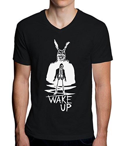 Donnie Darko Frank The Rabbit Wake Up Design Men's V-Neck T-Shirt XX-Large