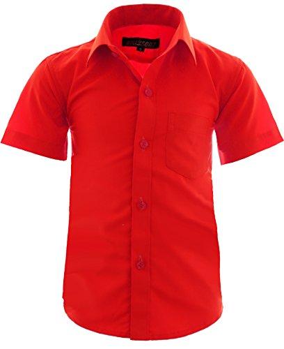 GILLSONZ A0 vDa New Kinder Party Hemd Freizeit Hemd bügelleicht Kurz ARM Gr.86-158 (146-152, Rot)