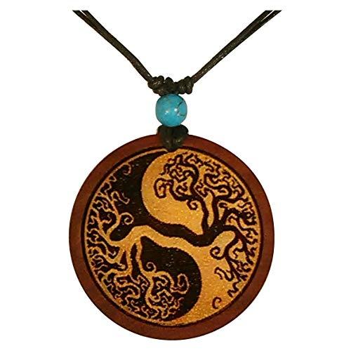 Chic-Net Damen Herren Holzkette mit Türkis Stein Baumwolle Holz Anhänger in rund rotbraun - verstellbar - mit Motiv Lebensbaum Yin Yang