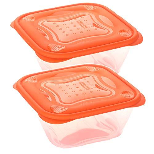 Set de 2 Coupelles hermeticos carrés avec couvercle orange de 0,5 litres - BPA Free.