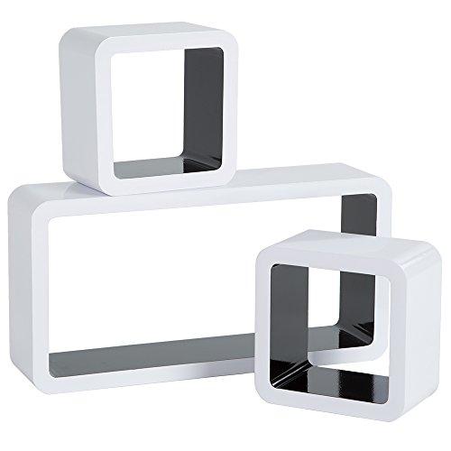 tectake 800706 3 Etagères murales Cube en Bois Design, pour des Livres, CDs, de la décoration, Matériel de Montage Inclus - Plusieurs Couleurs - (Blanc-Noir | no. 403189)