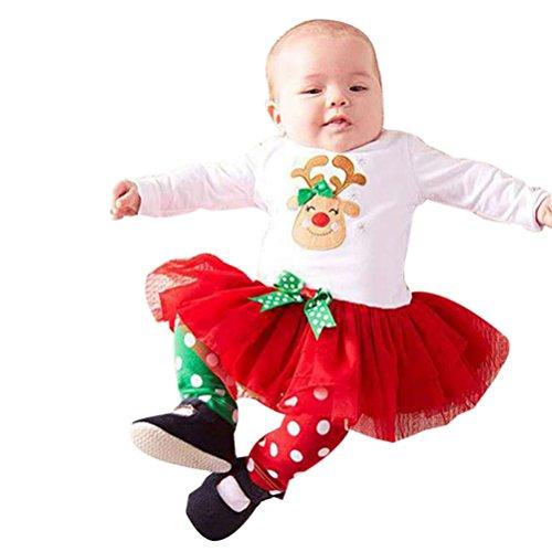 LMMVP Bébé Ensemble de Vêtements, 2pcs Infantile Bébé Fille Garçon Cerf Point Robe Princesse Tops + Pantalons Noël Vêtements Ensemble (80(6-12M), Blanc)