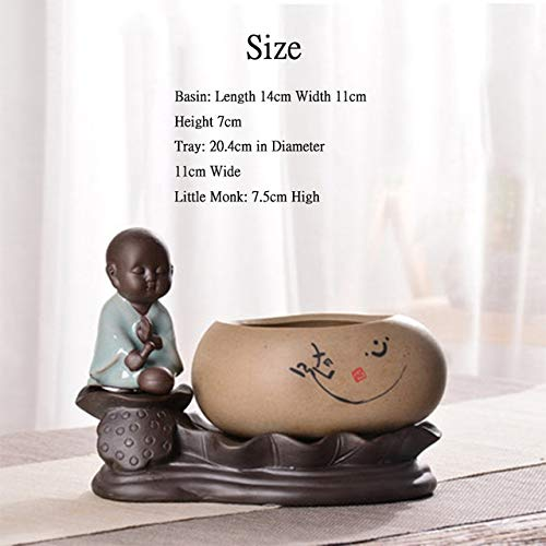 ELEVENH Absorbing Pots Bonsai Creative Chinese Lotus Little Monk Stoneware Buddha Zen Hydroponic Potted Flower Pots Bedroom Decoration,12 -