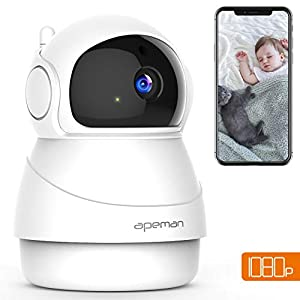 [NEW VERSION] APEMAN WiFi Camera Baby Monitor 1080P IP Pet Camera Wireless Indoor CCTV with 2-Way Audio, Motion Detection, Night Vision, PTZ