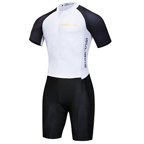 Lo. Gas Herren Triathlon Tri Suit Short Sleeve Quick Dry Skinsuit-Triathlon Race Anzug mit verlängerte Reißverschlüsse Atmungsaktiv und Beständigkeit Fahrradanzug, Weiß, Medium (Race Anzug)